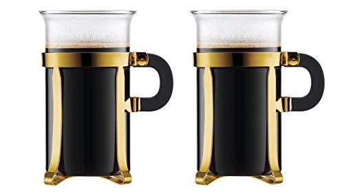 Bodum Chambord Set von 2 Kaffeetassen mit Metallgestell, Glas, Gold, 7.3 x 10.1 x 12.6 cm, 2-Einheiten