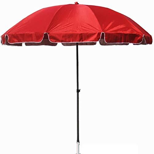 SHANCL Garden Parasol Sombrilla, Paraguas al Aire Libre Parasol, Espesado de Tela Oxford, Doble Hierro Esqueleto, Altura Ajustable (Color : Red)