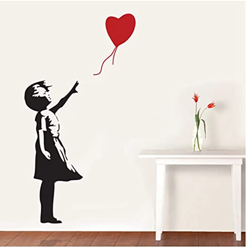 Banksy Wall Decal, Balloon Girl Inspired - Banksy Vinyl Wall Art Sticker (Altura De La Niña): 58 Cm, Tamaño Terminado Como Imagen De Aproximadamente 100X80 Cm