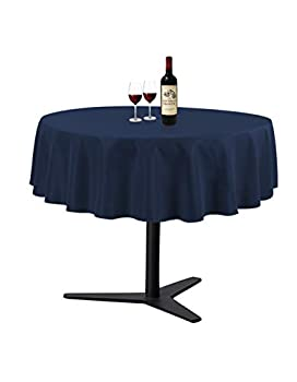 Waysle Navy Blue 90 Inch Round Tablecloth Washable Polyester Table Cover for Wedding Restaurant Party & More