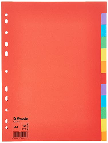 Esselte Divisori per Raccoglitori con 12 Tasti, Formato A4, Rosso/Multicolore, Cartoncino Robusto Riciclato, 100202