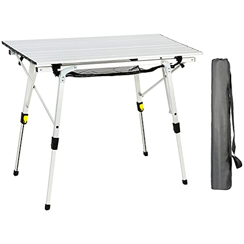 PORTAL Portable Folding Camping Table All Aluminum Ultra Lightweight Picnic Table 4 Adjustable Legs Roll Up Table Top with Mesh Layer for Beach Outdoor Travel