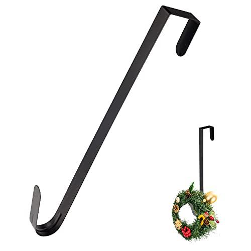 KINBOM 1 Gancho para Adorno Puerta Navidad, Gancho Acero para Decoración Puerta Delantera, Metal para Corona, Adorno de Navidad, Mochila, Bolso o Letrero de Bienvenida (Negro)