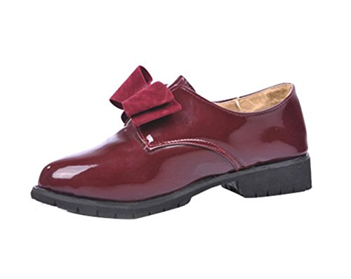 Gaorui Señoras Niñas Elegante Lazo Charol Tacón bajo Hombre Vestido Fiesta Zapatos Slip On Ankle Botas
