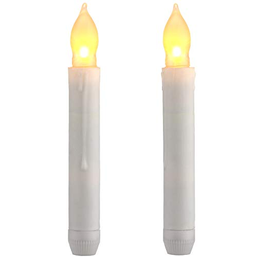 Mudder 2 Pieces LED Taper Candles Flameless Flickering Dripping Wax Finish Candles Warm Battery Operated Candlesticks for Party Church Decor, Without Battery