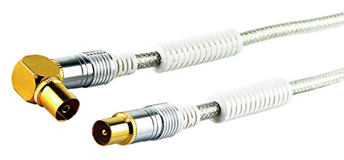 Schwaiger Premium Antennen Anschlusskabel 110 dB mit Ferritkern, 1,5m, transparent, IEC Stecker > 90° IEC Winkelbuchse, 4-Fach Schirmung, 75 Ohm, digital, HDTV, DVB-C/DVB-T2