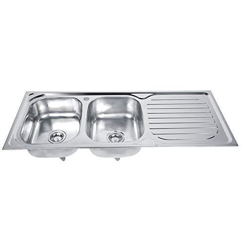 Lanpou Fregadero de cocina de acero inoxidable grueso, fregadero de cocina con doble cuenco en diseño moderno para el hogar y el restaurante