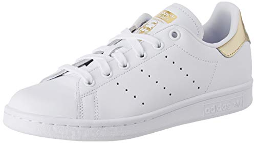 adidas Womens Stan Smith Sneaker, Cloud White/Cloud White/Gold Metallic, 42 2/3 EU