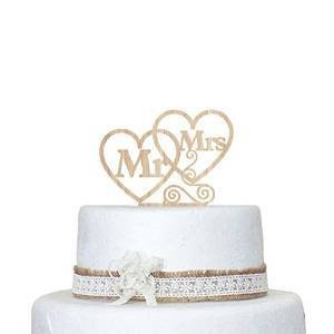loQuenn Decorazione per torta wedding Heart Mr & Mrs legno cake topper torta nuziale personalizzata