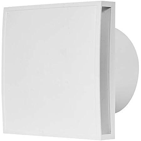Ventilateur de salle de bain Ø 100 mm avec capteur d'humidité et minuteur – Avant blanc, ventilateur silencieux.
