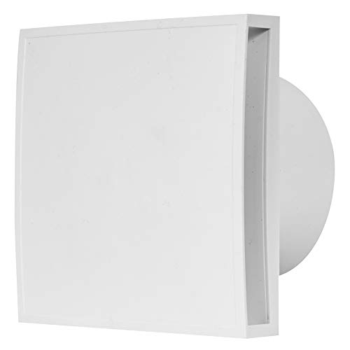 Ventilador de baño de 100 mm de diámetro con sensor de humedad y temporizador, con frontal blanco, ventilador silencioso