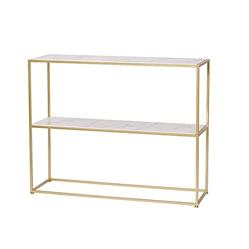 N\C Table 2 Tiers Console Table ,Sofa Side Table with Open Storage Shelf, Marble Organizer Shelves,Great for Hallway Decorating/organizing Home, Studio, loft Apartment décor for Living Room
