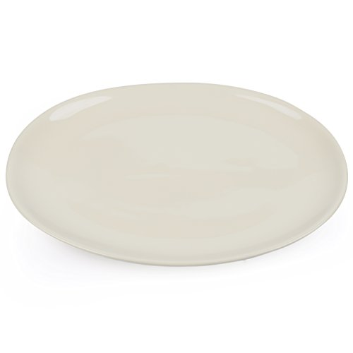 vancasso Victoria Porzellan Servierplatte, 2 tlg. Set Oval Fleischteller, Großer Speiseteller, Beige