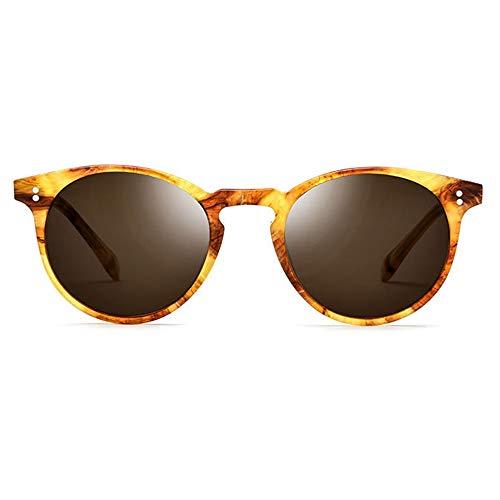 DKee Gafas de Sol Placa Polarizada Gafas De Sol Retro Gafas Redondas for Hombres Marco De Leopardo Marrón Lente Protección UV400 (Color : Yellow)