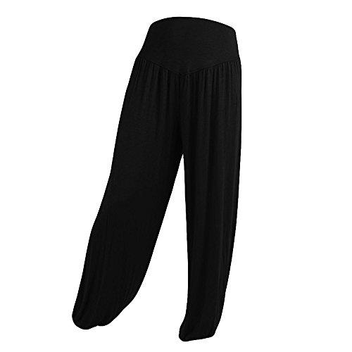 VPASS Mujer Pantalones,Pantalones de Talla Grande Piernas Anchas Pantalones Color sólido Casual Largos Pantalones Mujer Gym Yoga Pantalones Leggings Cintura Alta Deportivos Running