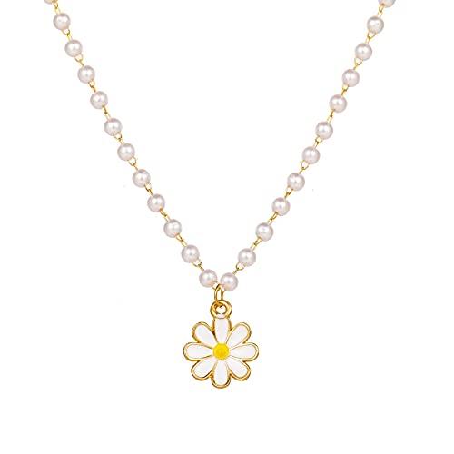 2021 Trend Elegant Jewelry White Imitation Pearl Chain Oil Flower Pendant Necklace Unquie Women Fashion Necklace Wholesale X022 8