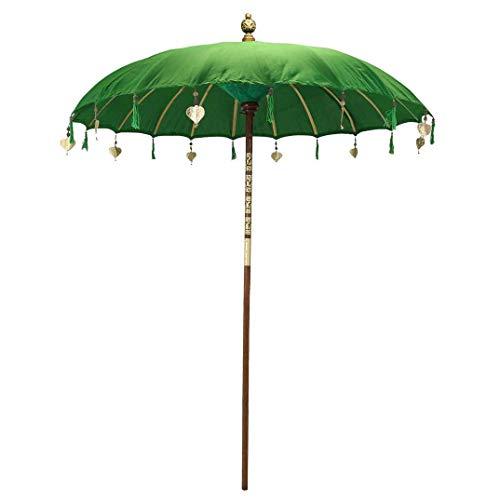 Oriental Galerie Bali Sonnenschirm Balinesischer Schirm Garten Baumwolle Sonnenschutz Handarbeit Retro Vintage Dekoschirm 2-teilig ca.180 cm, Farbe:Dunkelgrün
