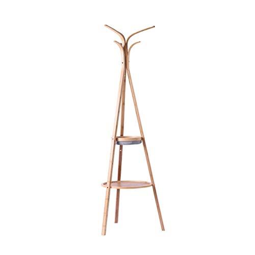 Perchero de Pie Soporte de la perilla de la capa de pie libre de bambú, soporte de capa de madera con 5 ganchos y 2 estantes, soporte de percha de abrigo para el pasillo de entrada Perchero para Abrig