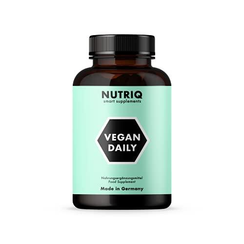 Multivitamine + Minerali VEGAN DAILY di NUTRIQ - 120 capsule vegane - con calcio, ferro, zinco, vitamina D3 / B12 e iodio - altamente dosato
