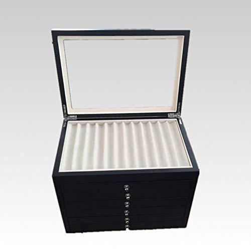 XIAOQIU Stiftehalter Brunnen Holz Vitrine Große Kapazität Holz Stift Aufbewahrungsbox Collector Organizer Box Schwarz Rot