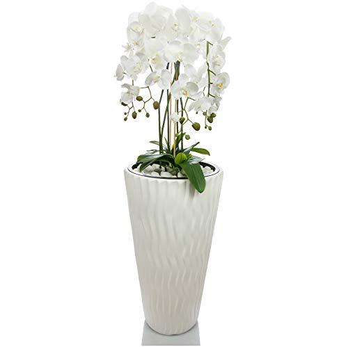 Künstliche Orchideen im Hochübertopf - Gesamthöhe: ca. 130cm | Stoffblüten | Farbe: Weiß | Gesteck Orchidee Kunstpflanze