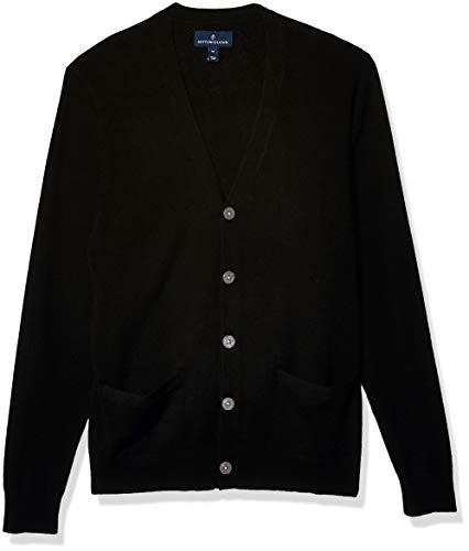 Amazon Brand - Buttoned Down Men's Cashmere Cardigan Sweater, Black, Medium