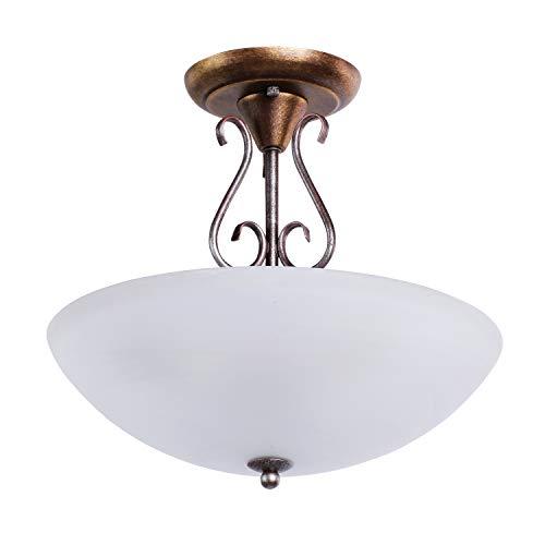 MW-Light 323012603 Lampadario da Soffitto Antico Metallo Colore Rame in Stile Classico Vetro Opaco E27 3 luci x 40W
