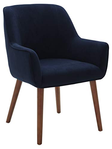 """Amazon Brand – Rivet Julie Mid-Century Modern Dining Room Accent Chair with Arms, 32""""H, Ink Blue"""