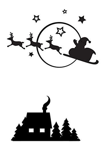 Darice 1218-40 reliëffolder - sjabloon, vliegende slee met kerstman, plastic, transparant, 10,7 x 14,6 x 0,3 cm