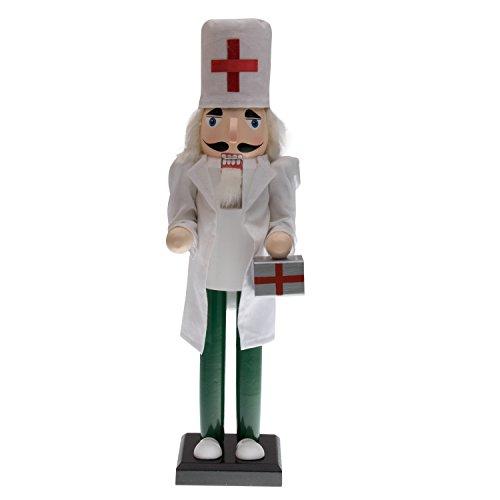 Clever Creations - Casse-Noisettes Docteur - Blouse/Pantalon/Chapeau à Croix médicale/Mallette de médecin - en Bois/à Collectionner - idéal sur Une Table/étagère - Blanc/Vert - 38 cm