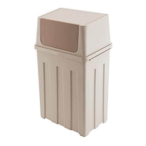 Cubo de Basura Cocina de basura con tapa, bote de basura de plástico, papelera, color claro, eliminación de manos libres, capacidad de 6,6 galones papelera de oficina, cocina o baño Basura Escritor