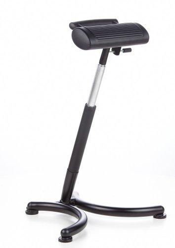 hjh OFFICE 665140 assise-debout, siège de travail haut TOP WORK 30 noir, réglable en hauteur, appui-fesses, chaise de Repassage, chaise pour musiciens, chaise d'atelier