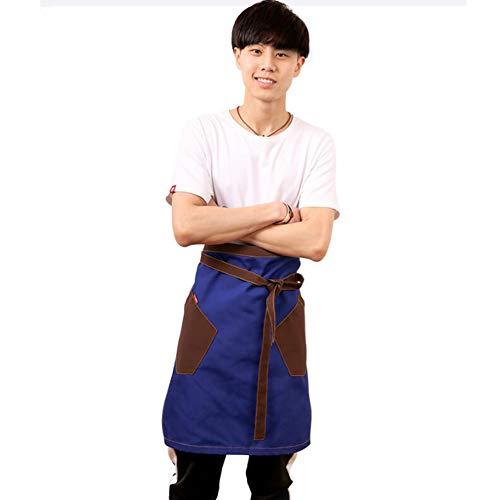 Schort semi-lange unisex schort met zakken - denim kookschort voor grill, kapper, nagelstudio, bakker, keuken, theestube, Coffeeshop-overall, aanpasbaar logo D
