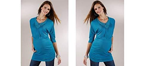 Neun Monate - T-Shirt à Manches Longues - Femme Bleu Pétrole
