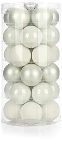 com-four® 30x Weihnachtskugeln - Christbaumkugeln aus echtem Glas für Weihnachten - Baumschmuck für den Christbaum, Ø 6 cm (30-teilig - weiß - Ø 6cm)