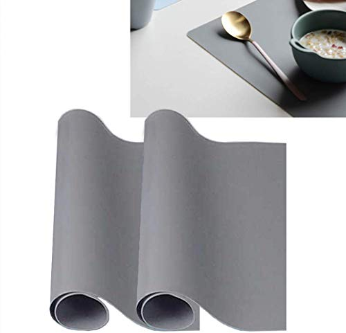 zosenda Reusable Silicone Placemat, 2Pcs Heat Resistant Kitchen Table Mats Countertop Protector, Non-Slip Flexible Washable Insulation Hot Pad Dining Mats (15.7 x 11.8 Inch)