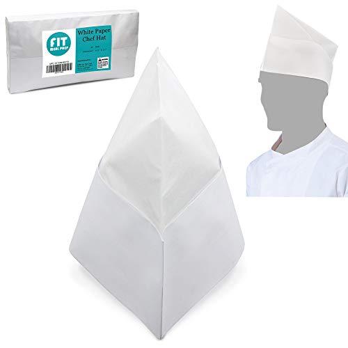 [50 Pack] White Paper Chef Hat - Disposable Soda Jerk Cap for Food Server