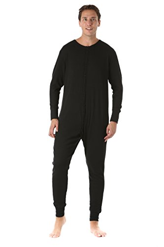 #followme 9393-BLK-M Men's Solid Thermal Henley Onesie Black