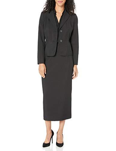 Le Suit Women's 2 Button Notch Collar Glazed Melange Column Skirt Suit, Black, 8