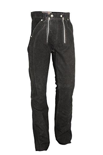 Fuente Lederhose Herren/Damen lang - Lederjeans- Echt Leder, Lederhose Jeans 501 Schwarz- Motorrad Lederjeans- Zimmermannshose Leder- Reithose Leder (32, Schwarz)