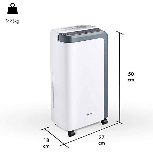 VonHaus Deshumidificador Eléctrico para Hogar 12 L - Uso en Habitaciones de hasta 15 m² - Elimina la Humedad y Reduce el Moho - Blanco y Gris