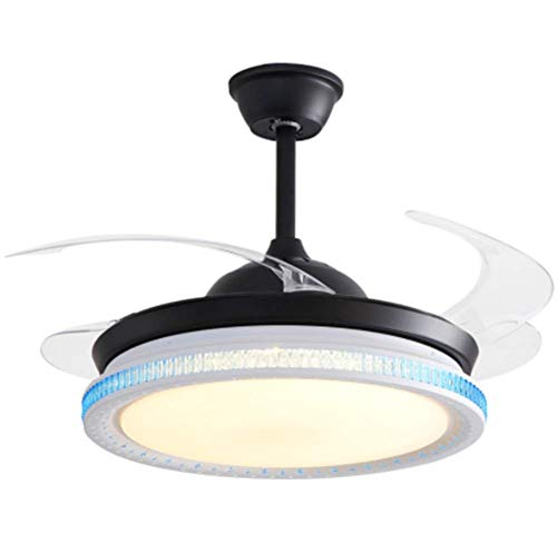 GLYHVXZ Moderno Ventilador de Techo con luz/aspa del Ventilador Invisible/Control Remoto/Corriendo en Verano e Invierno iluminación Interior de Pulgadas/Mute/Comodidad
