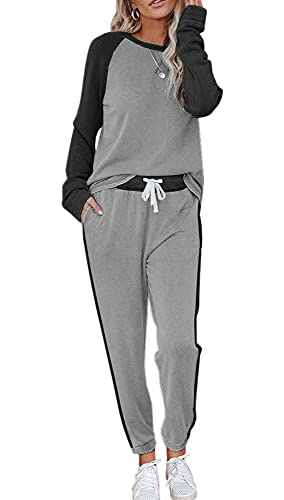ETCYY NEW Lounge Sets for Women Two Piece Outfits Sweatsuits Sets Long Pant Loungewear Workout Athletic Tracksuits Grey