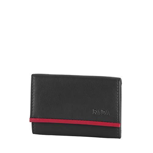 Rada Mini Geldbörse Brügge Unisex Geldbeutel im Querformat für Damen und Herren, Portemonnaie mit 2 Steckfächern und 1 Geldscheinfach aus echtem Leder (10 x 7 x 2,5 cm) (schwarz/rot)