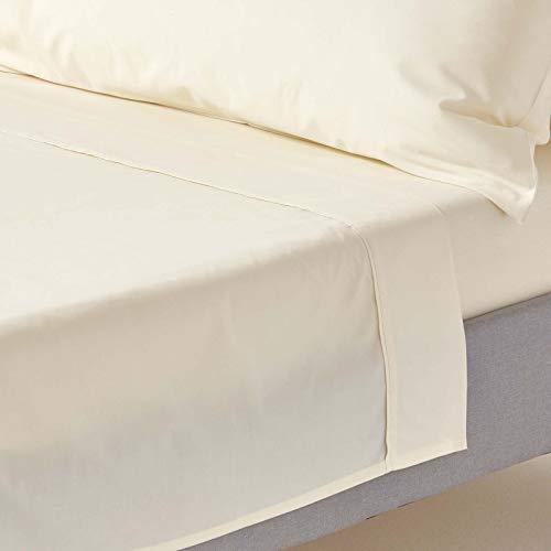 Homescapes Drap Plat Crème de Luxe pour 2 Personnes de 275 x 275 cm en Pur Coton peigné d'Egypte (qualité Percale 80 Fils/cm²)