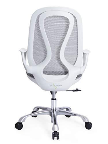 Misuraa Aluminium Traditional Ergonomic Chair (White)