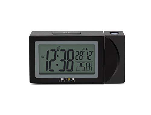 EXPLORE SCIENTIFIC RDP1002CM3000, Orologio a proiezione con visualizzazione radiocomandata dell'ora, Porta USB per ricaricare il telefono, nero