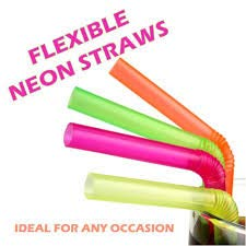 "240 10"" Neon Straws with Longer Flexible Bend - Plastic Disposable"