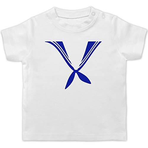 Karneval und Fasching Baby - Matrose Kostüm Tuch - 18/24 Monate - Weiß - matrose Tuch - BZ02 - Baby T-Shirt Kurzarm