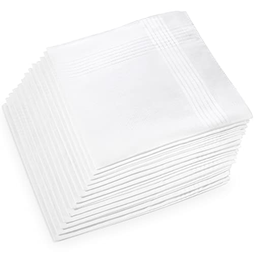 Men's Handkerchiefs, Ohuhu Cotton Handkerchiefs, 13 Pack 100% Pure Cotton White Pocket Square Hankies Great Gifts